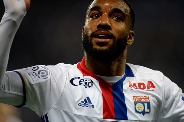 Lyon's French forward Alexandre Lacazette celebrates after scoring a goal during the French L1 football match between Lyon (OL) and Monaco (ASM) at the Parc de l'Olympique Lyonnais in Decines-Charpieu, central eastern France, on May 7, 2016. Lyon won the match 6-1. / AFP / ROMAIN LAFABREGUE (Photo credit should read ROMAIN LAFABREGUE/AFP/Getty Images)