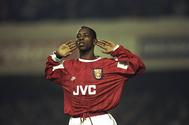 11 Jan 1996:  Ian Wright of Arsenal holds his hands to his ears during the Coca Cola Cup quarter-final against Newcastle at Highbury Stadium in London. Arsenal won the match 2-0.  Mandatory Credit: Shaun  Botterill/Allsport
