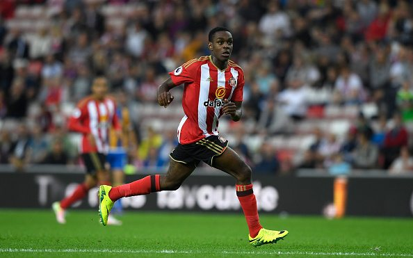SUNDERLAND, ENGLAND - AUGUST 24: Sunderland player Joel Asoro in action during the EFL Cup Round Two match between Sunderland and Shrewsbury Town at Stadium of Light on August 24, 2016 in Sunderland, England. (Photo by Stu Forster/Getty Images)