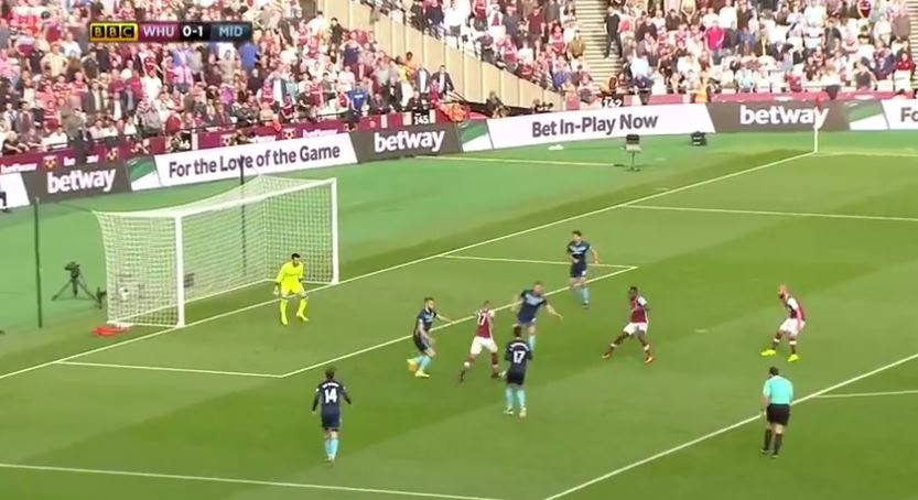As you can see from the picture, Payet (centre) has already breached Boro's backline effortlessly - meaning Chambers is seemingly helpless to stop the Frenchman from taking a shot. With that being said, he needs to find the right balance between being quick or patient and delaying the opponent, reducing their momentum.
