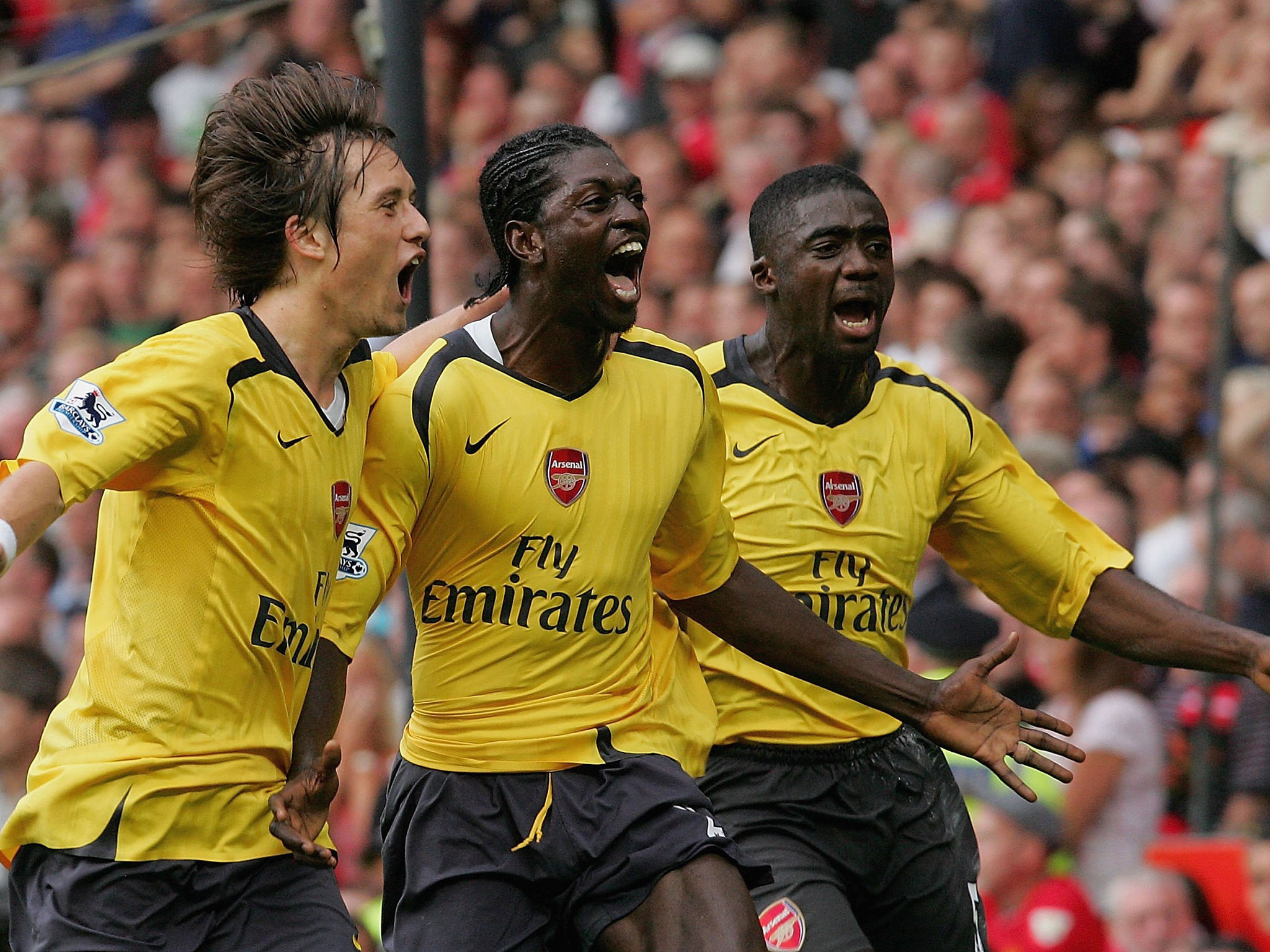 Emmanuel Adebayor's goal was the one and only in a slender 1-0 victory at Old Trafford, back in September 2006. Since then, Arsenal haven't beaten United away from home in the league. (Picture source: The Independent)
