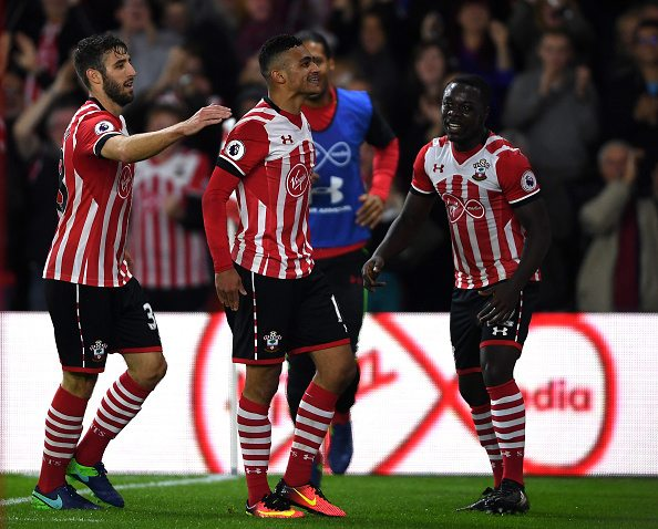 SOUTHAMPTON, ENGLAND - OCTOBER 26: Sofiane Boufal of Southampton (C) celebrates scoring his sides first goal with Sam McQueen of Southampton (L) and Olufela Olomola of Southampton (R) during the EFL Cup fourth round match between Southampton and Sunderland at St Mary's Stadium on October 26, 2016 in Southampton, England. (Photo by Mike Hewitt/Getty Images)