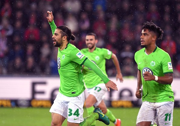 FREIBURG GERMANY - NOVEMBER 5: Ricardo Rodriguez (L) of VFL Wolfsburg celebrates his goal during the Bundesliga match between Sport Club Freiburg and VfL Wolfsburg at Schwarzwald-Stadion on November 5, 2016 in Freiburg, Germany. (Photo by Michael Kienzler/Bongarts/Getty Images)