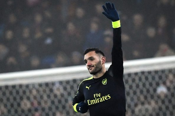 Arsenal's Spanish forward Lucas Perez celebrates his third goal during the UEFA Champions league Group A football match between FC Basel 1893 and Arsenal FC on December 6, 2016 at the St Jakob Park stadium in Basel. (PATRICK HERTZOG/AFP/Getty Images)