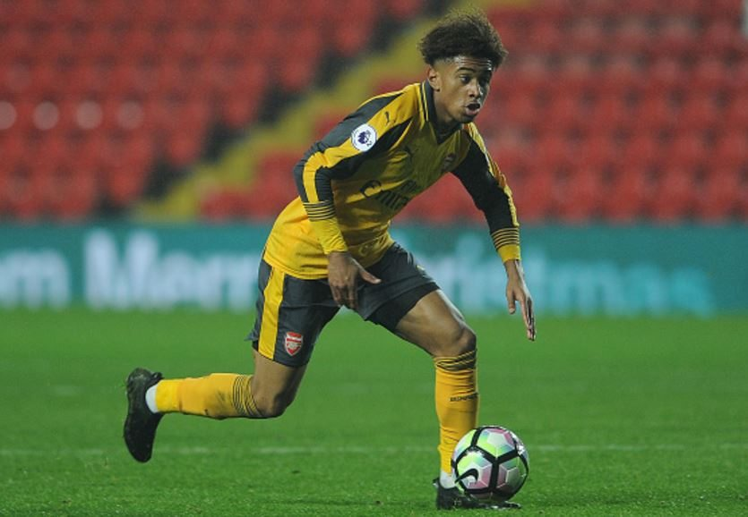 LIVERPOOL, ENGLAND - DECEMBER 12: Reiss Nelson was a constant livewire in the attacking third as usual, playing a big part in Mavididi's opener before creating the assist for his second of the evening - driving runs forward meant Liverpool's backline struggled to handle him for sustained periods of Arsenal pressure. (Photo by David Price / Arsenal FC via Getty Images)