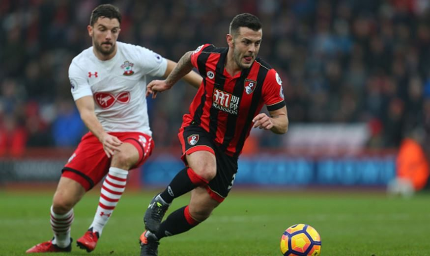 BOURNEMOUTH, ENGLAND - DECEMBER 18: Jack Wilshere of Bournemouth gets past Southampton's Jay Rodriguez during the Premier League match at the Vitality Stadium. (Photo: Catherine Ivill - AMA/Getty Images)