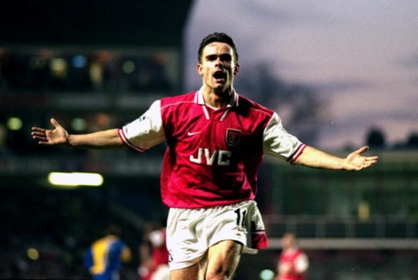 10 Jan 1998: Marc Overmars of Arsenal celebrates a goal during the FA Carling Premiership match against Leeds United at Highbury in London. Arsenal won 2-1. Mandatory Credit: Shaun Botterill /Allsport