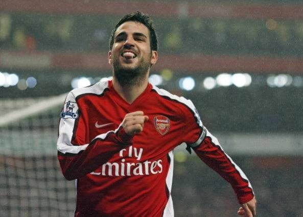 Arsenal's Spanish midfielder Cesc Fabregas celebrates scoring the second goal from the penalty spot during the English Premier League football match between Arsenal and West Ham United at the Emirates stadium, north London on March 20, 2010. AFP PHOTO/GLYN KIRK