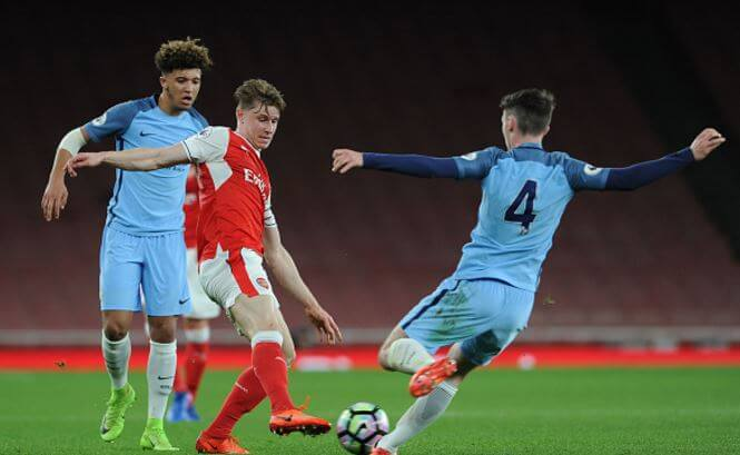 Sheaf in action against Manchester City u23s