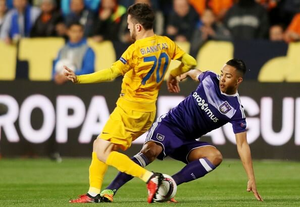Tielemans mis-times a challenge during Anderlecht's Europa League fixture with APOEL