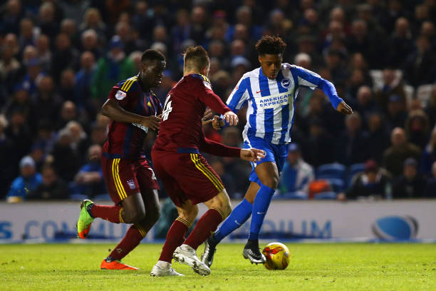 Akpom in action for Brighton earlier this season