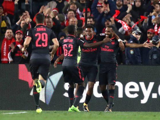 Alexandre Lacazette celebrates debut goal