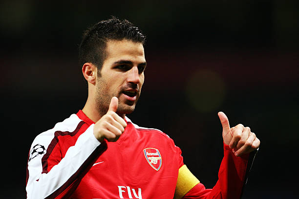 LONDON, ENGLAND - NOVEMBER 04: Cesc Fabregas of Arsenal celebrates scoring his second and the teams the third goal of the game during the UEFA Champions League Group H match between Arsenal and AZ Alkmaar at the Emirates Stadium on November 4, 2009 in London, England. (Photo by Phil Cole/Getty Images)