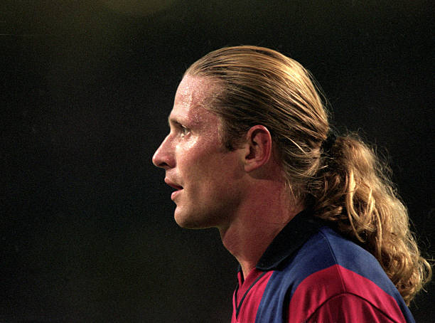 Emmanuel Petit of Barcelona in action during the Pre-Season Friendly Tournament match against Arsenal held at the Amsterdam ArenA, in Amsterdam, Holland. Barcelona won the match 2-1.