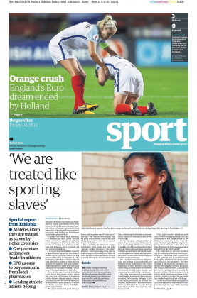 170804 guardian sport front page