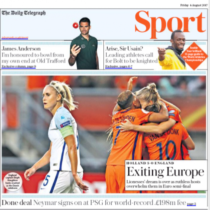 170804 telegraph sport front page