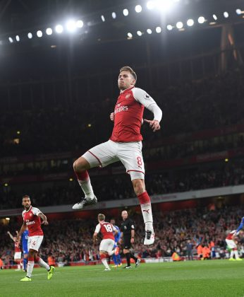 LONDON, ENGLAND - AUGUST 11: Aaron Ramsey celebrates scoring Arsenal's 3rd goal during the Premier League match between Arsenal and Leicester City at Emirates Stadium on August 11, 2017 in London, England. (Photo by David Price/Arsenal FC via Getty Images)