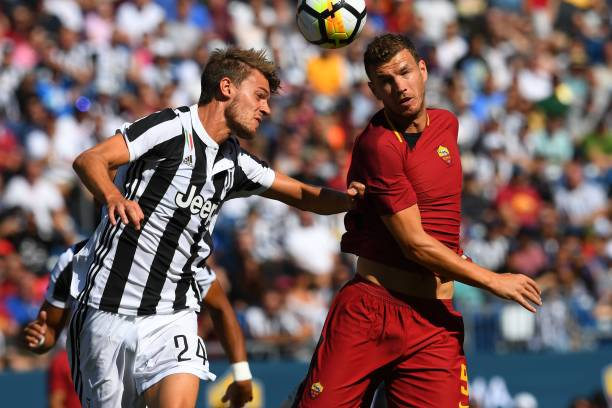 Roma Edin Dzeko drives against Juventus F.C Daniele Rugani during their 2017 International Champions Cup match at Gillette Stadium in Foxborough, Massachusetts July 30, 2017. Picture: Timothy A Clary/AFP/Getty Images