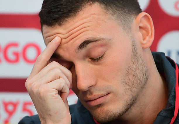 Belgium's defender Thomas Vermaelen gestures during a press conference at Le Haillan, south-western France, on June 14, 2016, during the Euro 2016 football tournament. (EMMANUEL DUNAND/AFP/Getty Images)