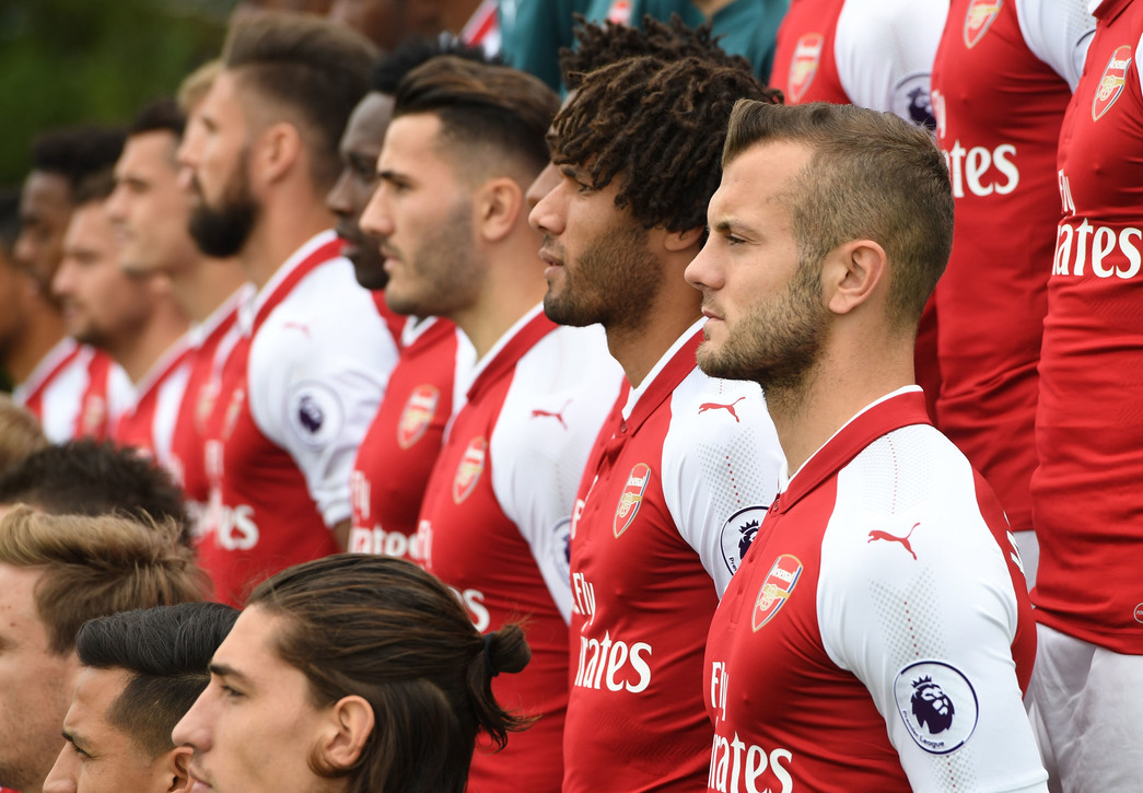 ST ALBANS, ENGLAND - SEPTEMBER 12: Jack Wilshere of Arsenal during the 1st team squad photocall at London Colney on September 12, 2017 in St Albans, England. (Photo by David Price/Arsenal FC via Getty Images)