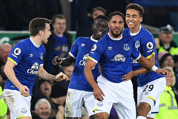 Everton's English-born Welsh defender Ashley Williams (2R) celebrates scoring his team's second goal during the English Premier League football match between Everton and Arsenal at Goodison Park in Liverpool, north west England on December 13, 2016. (PAUL ELLIS/AFP/Getty Images)