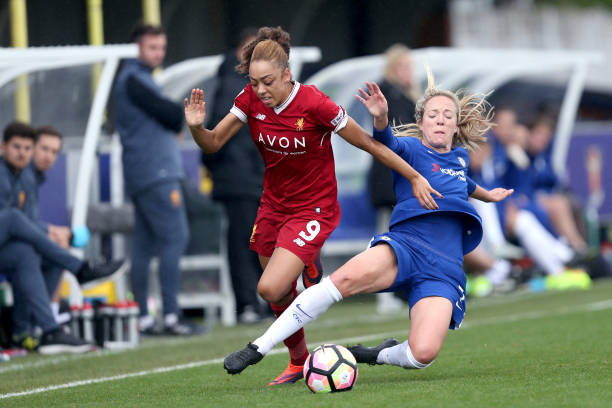 KINGSTON UPON THAMES, ENGLAND - OCTOBER 07: Gemma Davison of Chelsea Ladies fouls Jess Clarke of Liverpool Ladies during the Wome's Super League 1 match between Chelsea Ladies v Liverpool Ladies at The Cherry Red Records Stadium on October 7, 2017 in Kingston upon Thames, England. (Photo by James Chance/Getty Images,)