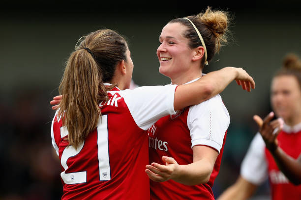LONDON, ENGLAND - OCTOBER 08: Danielle Van De Donk celebrates with Emma Mitchell after scoring her sides first goal during the Women's Super League 1 match between Arsenal and Bristol City at Meadow Park, Boreham Wood on October 8, 2017 in London, United Kingdom. (Photo by Naomi Baker/Getty Images)