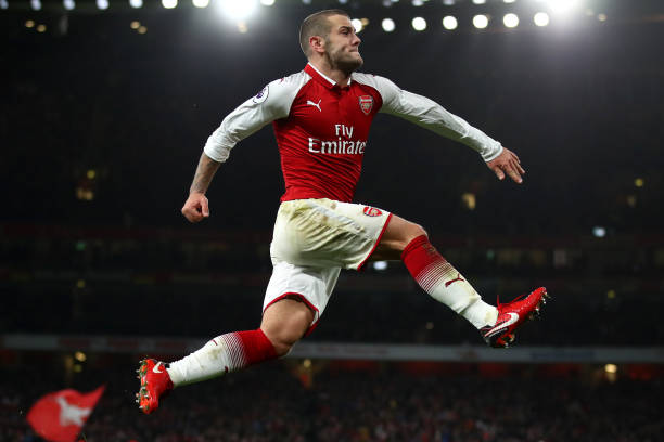 LONDON, ENGLAND - JANUARY 03: Jack Wilshere of Arsenal celebrates after scoring his sides first goal during the Premier League match between Arsenal and Chelsea at Emirates Stadium on January 3, 2018 in London, England. (Photo by Julian Finney/Getty Images)