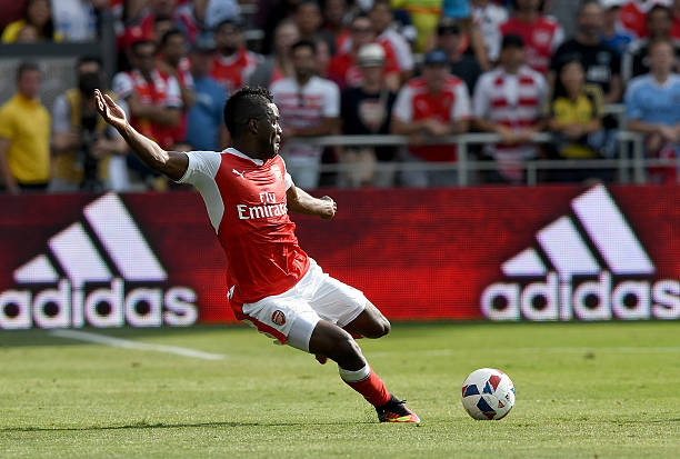 SAN JOSE, CA - JULY 28: Joel Campbell #28 of Arsenal FC kicks the ball up field against the MLS All-Stars during the first half of the AT&T MLS All-Star Game at Avaya Stadium on July 28, 2016 in San Jose, California. (Photo by Thearon W. Henderson/Getty Images)
