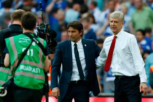 Antonio Conte and Arsene Wenger (IAN KINGTON/AFP/Getty Images)