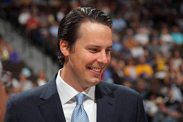 DENVER, CO - APRIL 22: Josh Kroenke, President and Governor of the Denver Nuggets meets season ticket holders on fan appreciation night prior to facing the Orlando Magic at Pepsi Center on April 22, 2012 in Denver, Colorado. The Nuggets defeated the Magic 101-74. NOTE TO USER: User expressly acknowledges and agrees that, by downloading and or using this photograph, User is consenting to the terms and conditions of the Getty Images License Agreement. (Photo by Doug Pensinger/Getty Images)