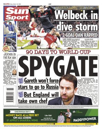 16 March 2018 The Sun backpage