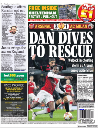 16 march 2018 Daily Express danny welbeck dive backpage
