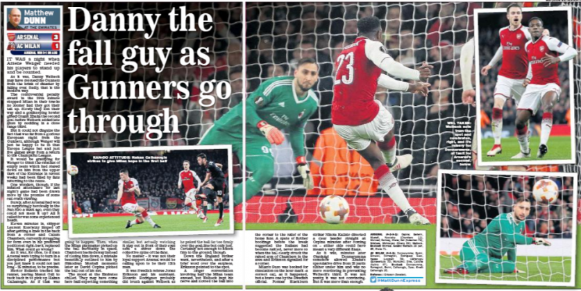 16 march 2018 Daily Express danny welbeck dive match report