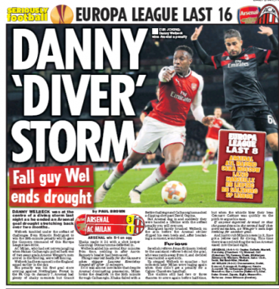 16 march 2018 Daily star danny welbeck dive
