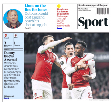 16 march 2018 Guardian danny welbeck dive backpage