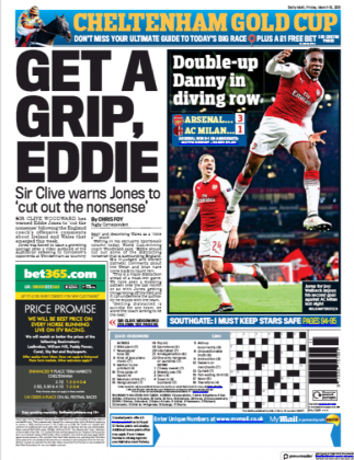 16 march 2018 daily mail danny welbeck dive backpage