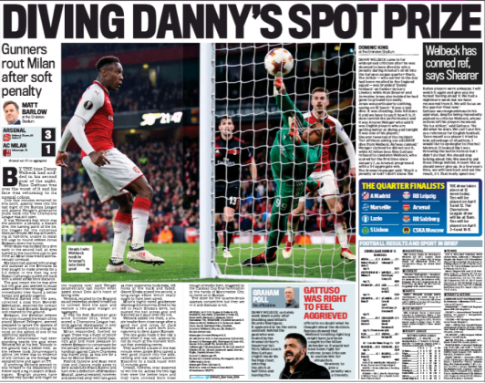 16 march 2018 daily mail danny welbeck dive match report