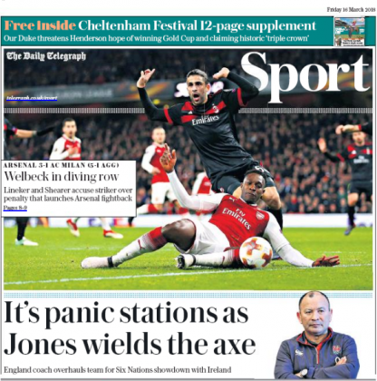 16 march 2018 daily telegraph dany welbeck dive