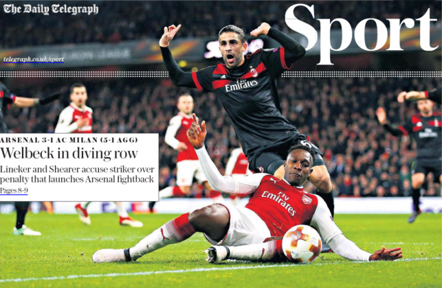 16 march 2018 daily telegraph dany welbeck dive ccloseup