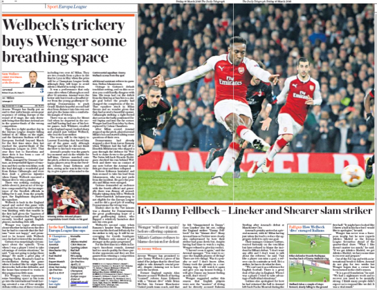 16 march 2018 daily telegraph dany welbeck dive match report