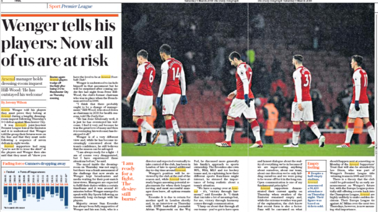 Daily Telegraph Wenger tells palyers 3 march 2018 2
