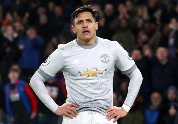 LONDON, ENGLAND - MARCH 05: Alexis Sanchez of Manchester United reacts during the Premier League match between Crystal Palace and Manchester United at Selhurst Park on March 5, 2018 in London, England. (Photo by Catherine Ivill/Getty Images)