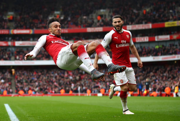 LONDON, ENGLAND - MARCH 11: Pierre-Emerick Aubameyang of Arsenal celebrates scoring the 2nd Arsenal goal with Sead Kolasinac of Arsenal during the Premier League match between Arsenal and Watford at Emirates Stadium on March 11, 2018 in London, England. (Photo by Julian Finney/Getty Images)