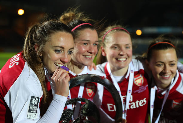 HIGH WYCOMBE, ENGLAND - MARCH 14: Lisa Evans of Arsenal Women celebrates with her medal after the WSL Continental Cup Final between Arsenal Women and Manchester City Ladies at Adams Park on March 14, 2018 in High Wycombe, England. (Photo by Catherine Ivill/Getty Images)