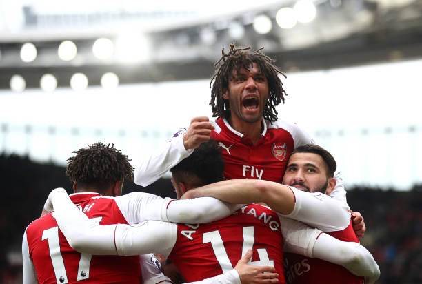 LONDON, ENGLAND - MARCH 11: Pierre-Emerick Aubameyang of Arsenal celebrates scoring the 2nd Arsenal goal with Mohamed Elneny of Arsenal during the Premier League match between Arsenal and Watford at Emirates Stadium on March 11, 2018 in London, England. (Photo by Julian Finney/Getty Images)