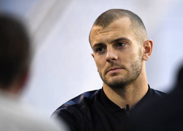 BURTON-UPON-TRENT, ENGLAND - MARCH 20: Jack Wilshere speaks during an England press conference session at St Georges Park on March 20, 2018 in Burton-upon-Trent, England. (Photo by Gareth Copley/Getty Images)