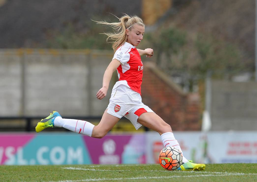 Leah Williamson (Arsenal Ladies). Arsenal Ladies 2:2 Notts County Ladies. Arsenal win on penalty shoot out. FA Cup 1/4 Final. Meadow Park, Borehamwood, 3/4/16. Credit : Arsenal Football Club / David Price.