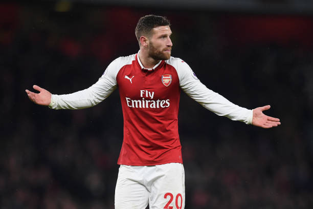 LONDON, ENGLAND - FEBRUARY 03: Shkodran Mustafi of Arsenal gestures during the Premier League match between Arsenal and Everton at Emirates Stadium on February 3, 2018 in London, England. (Photo by Michael Regan/Getty Images)