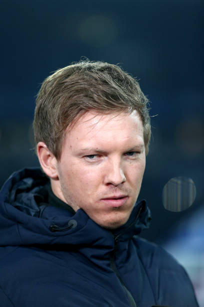 GELSENKIRCHEN, GERMANY - FEBRUARY 17: Head coach Julian Nagelsmann of Hoffenheim looks on prior to the Bundesliga match between FC Schalke 04 and TSG 1899 Hoffenheim at Veltins-Arena on February 17, 2018 in Gelsenkirchen, Germany. (Photo by Christof Koepsel/Bongarts/Getty Images)
